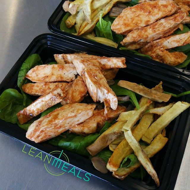 Barbecue Chicken With Spinach Mushrooms And Sweet Frites