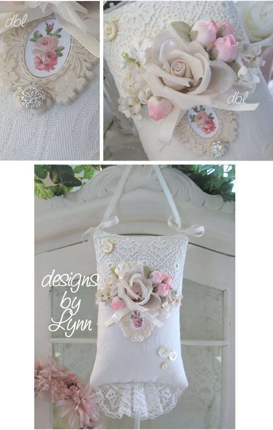 Cottage White Vintage Hanging Lavender  Sachet Lace Pillow Designs By Lynn-pink, roses, shabby, chic, ruffles, Victorian, Vintage, Lynn, Barkcloth, PINK, cottage, white,