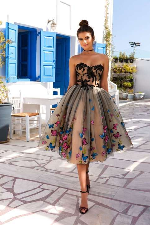 Champagne tulle strapless knee length appliques homecoming dress, 3D butterfly cocktail dresses