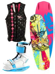 LET'S PARTY - YOLO! So go bold… or go home. Packed with colorful brilliance — much like your moves — this no-holds-barred look includes 2014 Slingshot Pearl Wakeboard, Slingshot Jewel Wakeboard Boots 2014, and Liquid Force Women's Cardigan Comp Vest in Pink