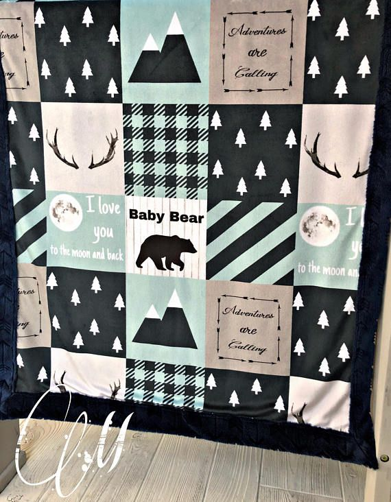 ***Options*** Please read carefully!! Black/blue and mint Mountain - love you to the moon with Navy arrow backing. Minky blankets are minky on both sides. Check shop info for turnaround time. Minky Baby blanket - Measures approximately 28x38 inches. Great for strollers, car seats,