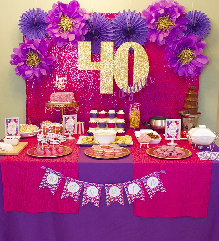 40 Again! 40th Birthday Party Celebration - lots of gold, glitter, hot pink, purple and fun DIY items went into this party party! | dimepartydiva.com #40thbirththday #party #ideas