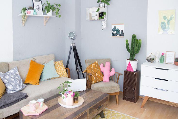 DIY Deko fürs Wohnzimmer: Wohnzimmer in bunt und skandinavisch einrichten mit vielen DIY Deko Tipps für ein gemütliches Wohnzimmer