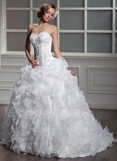Ball-Gown Sweetheart Court Train Organza Satin Wedding Dress With Beading Sequins Cascading Ruffles (002004530)