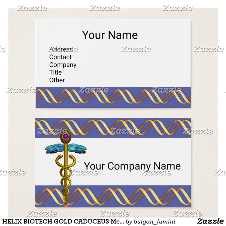 HELIX BIOTECH GOLD CADUCEUS Medical Blue White Business Card #biotech #medical #genetics #biology #science #dna #swirls #helix #techno #tech #geek # #laboratory #biologist #research #caduceus #doctor #medicine #hospital
