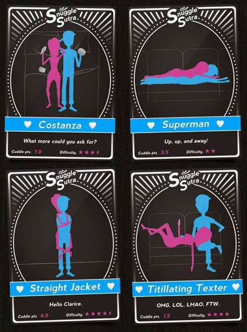 Cuddle Position Playing Cards  Snuggle Sutra Lets Lovers Explore Intimate Ways to Hug & Bond