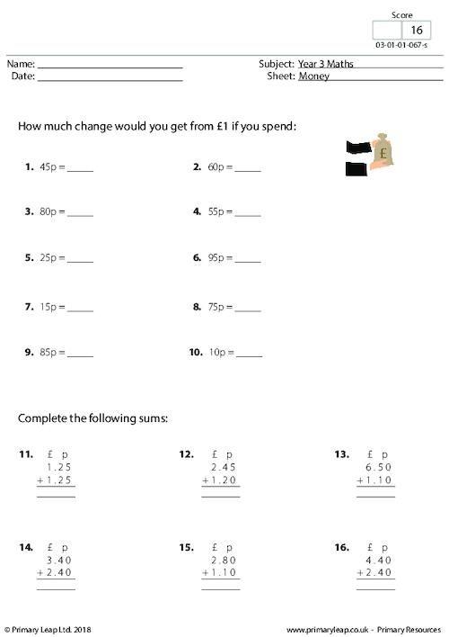Money 2 Primaryleap Co Uk Money Math Math Printables Math Worksheets
