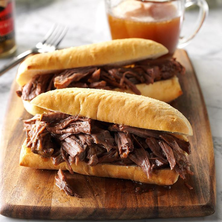 Shredded French Dip Recipe -A chuck roast slow-simmered in a beefy broth is delicious when shredded and spooned onto rolls. I serve the cooking juices in individual cups for dipping. —Carla Kimball, Callaway, Nebraska