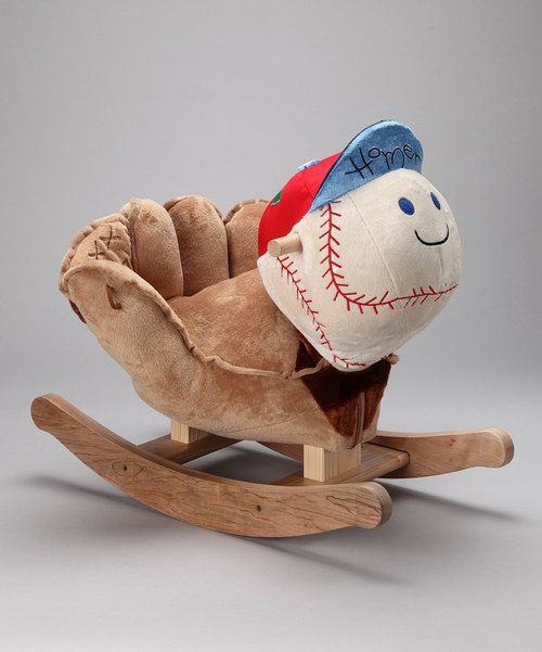 As if a big, cuddly baseball wasn't enough fun, here's one to ride on. A star-shaped button on Homer's hat plays four original songs that cover the ABCs, 123s and more. With so much to explore, this rocker is the perfect all-in-one playmate.Weight capacity: 80 lbs.Cushioned seatApprox.12'' W x 17'' H x 24'' D12 lbs.Fabric / woodRequires three AAA batteries (included)Recommended for ages 9 months and upImported | Assembled in the USA