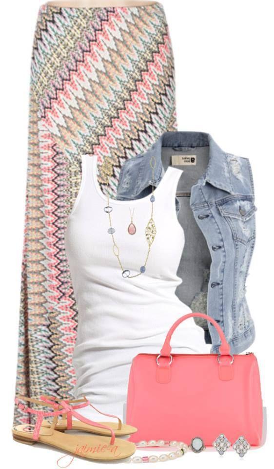 Denim vest, white t-shirt, colourful maxi, necklaces, coloured cute bag