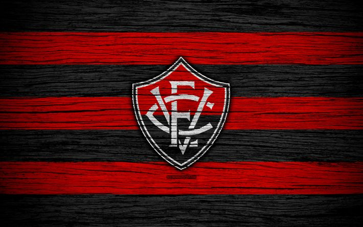 Download wallpapers Vitoria, 4k, Brazilian Seria A, logo, Brazil, soccer, Vitoria FC, football club, wooden texture, FC Vitoria