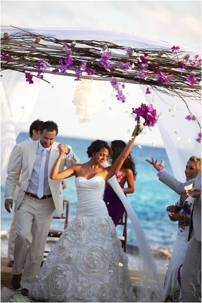 Purple Orchid Accents In The Bride S Bouquet And Fl Décor Pop Against Ocean Backdrop At A Viceroy Riviera Maya Wedding