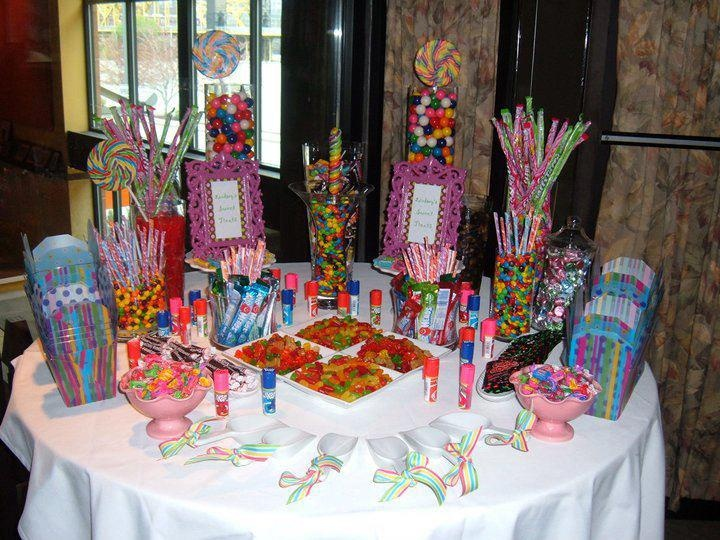 Mesa de bocadillos xv a os pinterest mesas - Candyland party table decorations ...