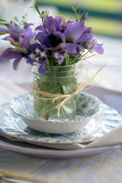Use fresh flowers in a bright color to lighten up any table.: