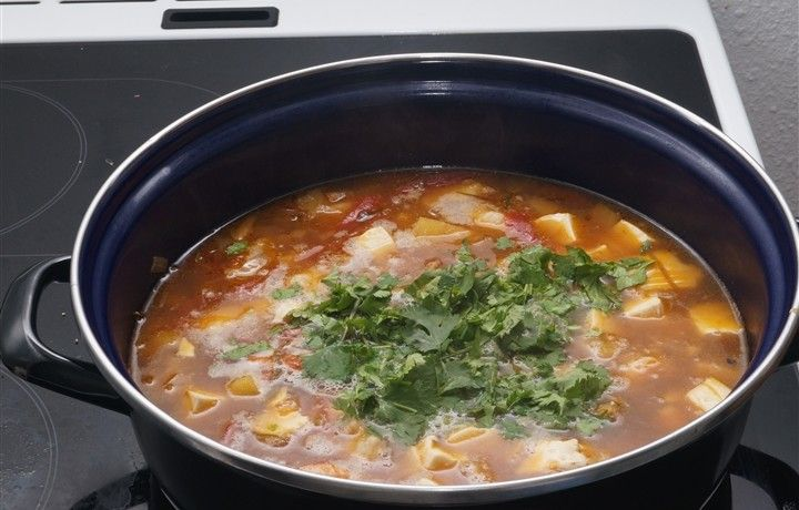 My soup is ready! A lot of ingredients: Fish, shrimps, coriander, silk tofu, pineapple, ginger, lemongrass, lime, chili pepper, onion, tomatoes, tamarind, fish sauce, palm suger, lemon balms.