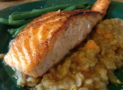 Red lentils with pan-fried salmon to pair with 2011 Pinot Noir,Fe ...