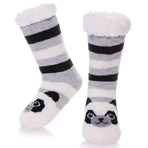 a9191bbde69f0 LANLEO Boys Girls Cute Animal Slipper Socks Fuzzy Soft Warm Thick Fleece  lined Winter Socks Kids Toddlers Christmas Stockings (Panda, 3-5 Year Old)