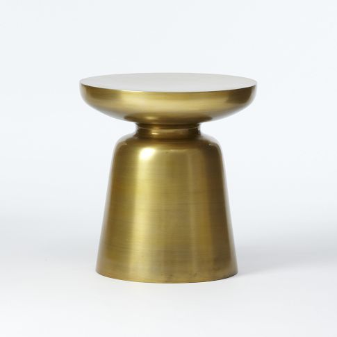 Martini Side Table - Antique Brass | west elm. I love this brass finished aluminum table in this space. Use it as a handy spot to set a drink or book while nursing or rocking baby.