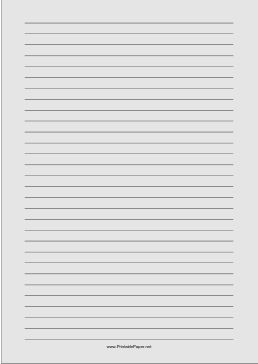 Wide ruled paper with black lines on a light gray background. This type of paper can be helpful for people with special needs such as dysgraphia and dyslexia or scotopic sensitivity that makes white paper appear too bright. Free to download and print