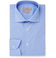 CanaliBlue Cutaway-Collar Puppytooth Stretch Cotton-Blend Shirt