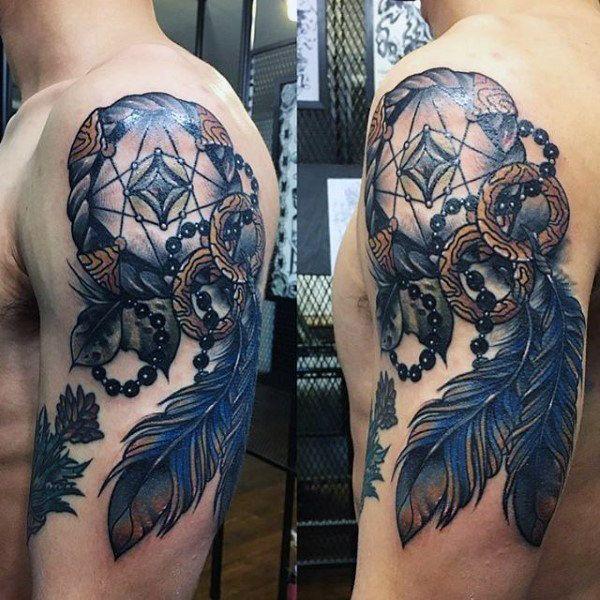 100 Dreamcatcher Tattoos For Men Divine Design Ideas Dream Catcher Tattoo Dream Catcher Tattoo Design Feather Tattoos