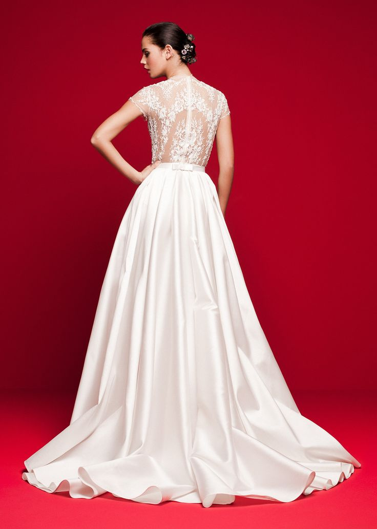 LVS 351 Beaded lace body with a slit mikado skirt