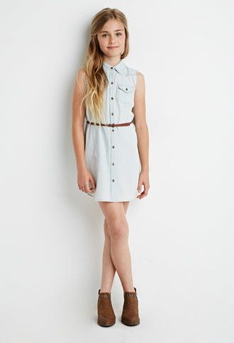 Belted Chambray Shirt Dress (Kids) | Forever 21 girls - 2000155332