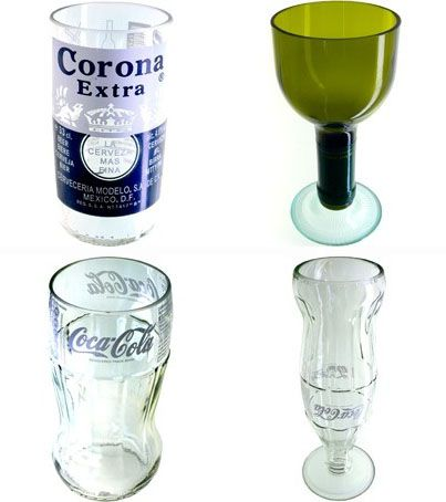 Fabrica unos originales vasos o floreros reciclando las botellas de cristal que tengas en casa. Puedes incluso fabricar copas o tazas pegando las partes con un buen pegamento.