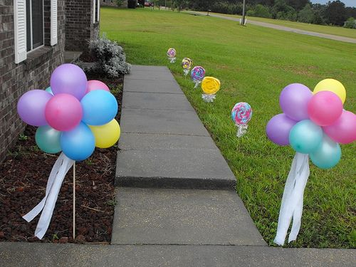 Put at door entry... balloon path that leads to birthday gathering