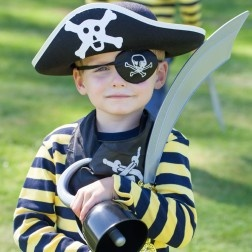 Every Pirate needs an Eyepatch and Sword: http://www.partypieces.co.uk/kids-party-children-s-parties-party-supplies/kids-fancy-dress/pirate-fancy-dress/pirate-sword-eyepatch.html