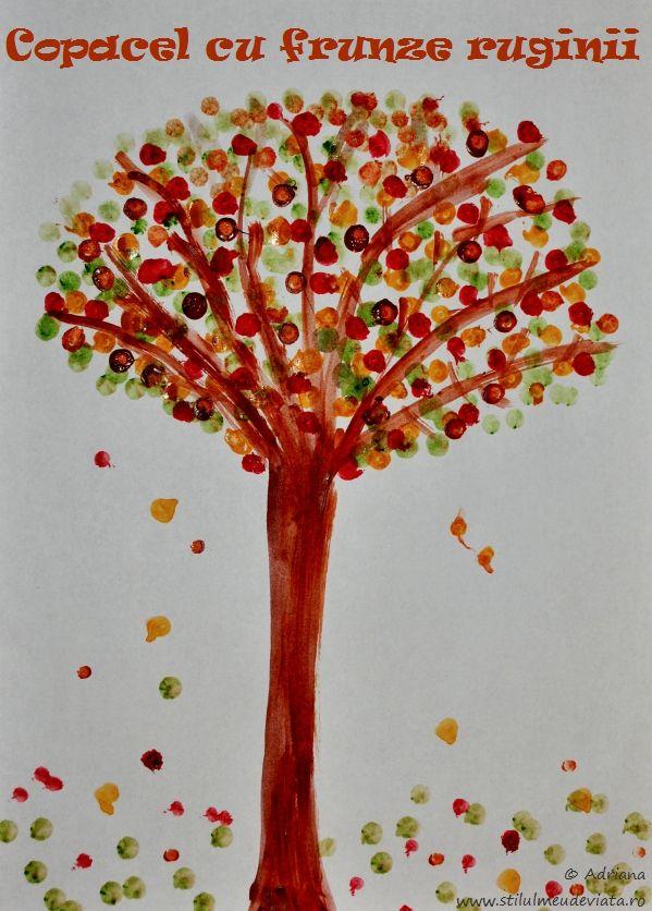 Răceala şi vremea urâtă din ultimele zile nu ne-au permis să petrecem prea mult timp pe afară, aşa că am încercat să ne ocupăm timpul cu activităţi cât mai interesante. Nu am pictat demult, aşa că am scos acuarelele şi am realizat un copacel cu frunze ruginii.