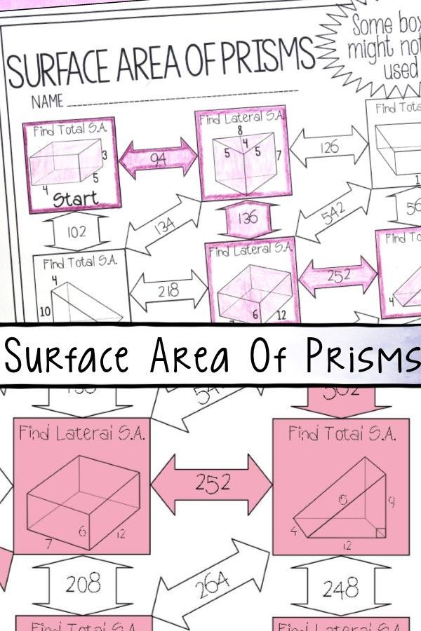 This Surface Area Of Prisms Maze Worksheet Was The Perfect Activity To Teach My 6th Grade Mat Math Fact Worksheets Surface Area Activities Free Math Worksheets