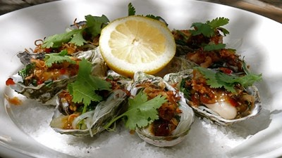 Tea Smoked Oysters with Sweet Chilli, Crisp Shallots Garlic and Coriander