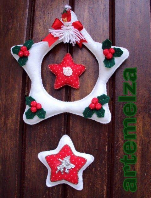Para fazer a guirlanda 3 estrelas você vai precisar de retalhos de feltro branco, vermelho, verde, fitas para enfeitar, broches ou botõe...