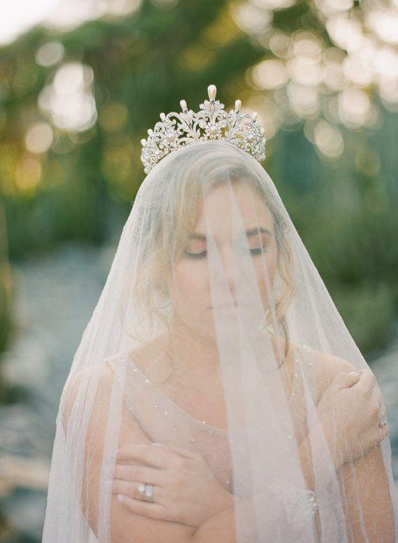 Bridal Tiara with Pearls ALEXANDRA 2 Swarovski by EdenLuxeBridal