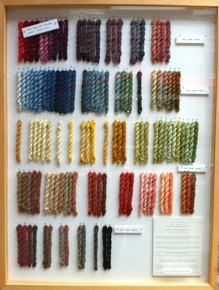 Dyes from plants (with exception of the upper left from Cochineal) - a great color spectrum!