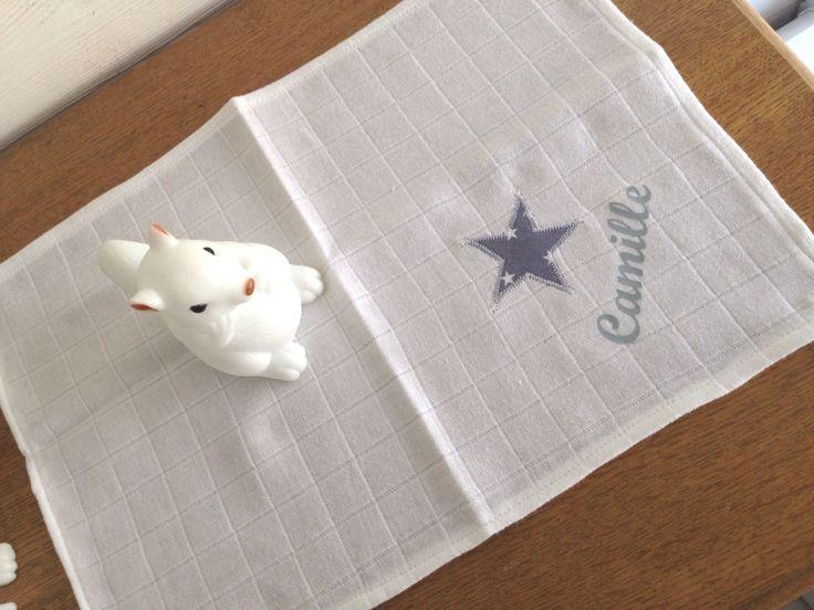 Doudou mouchoir personnalisé en matière lange - tissu de l'étoile au choix : Jeux, peluches, doudous par fesse-de-rat