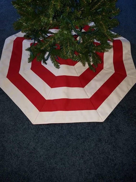 Red And White Striped Christmas Tree Skirt Handmade Quilted