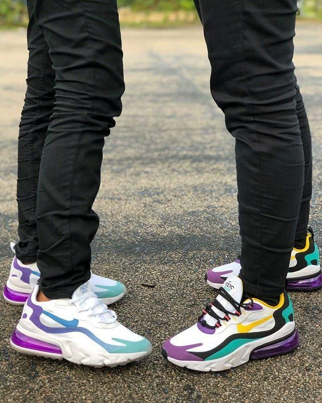 Nike Purple Black And Yellow Air Max 270 React Sneakers In 2020