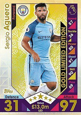 Topps Match Attax 2016/2017 Sergio Aguero Gold Limited Edition 16/17 Trading Card #aguero #mcfc