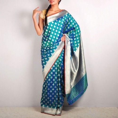 Blue Embroidered Banaras Silk saree