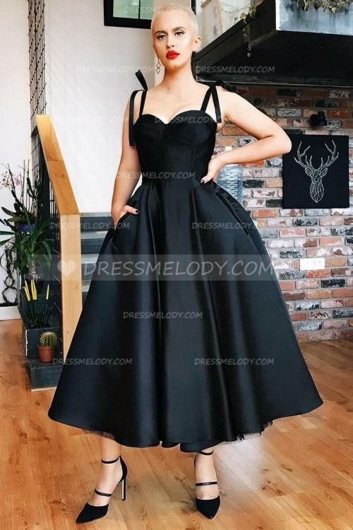 Elegant Spaghetti Straps Sleeveless Tea-Length Solid Ball Gown Evening Dress #dresses #quotes #bts #frases #christmascrafts