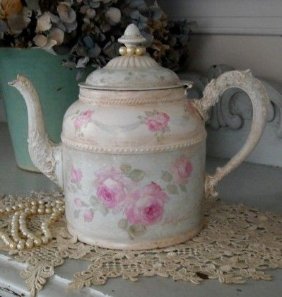 Hand Painted Roses and Pearl Teapot by Debi Coules