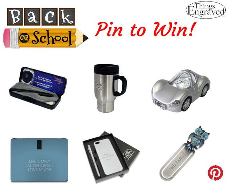 "Create a board on Pinterest named ""Things Engraved Back to School"" and pin at least 20 back to school related gifts from www.thingsengraved.ca for your chance to win 1 of 2 $50.00 Things Engraved gift cards! #Contest ends August 30th. (Contest Rules: http://blog.thingsengraved.ca/pinterest/) See pins below for examples!"