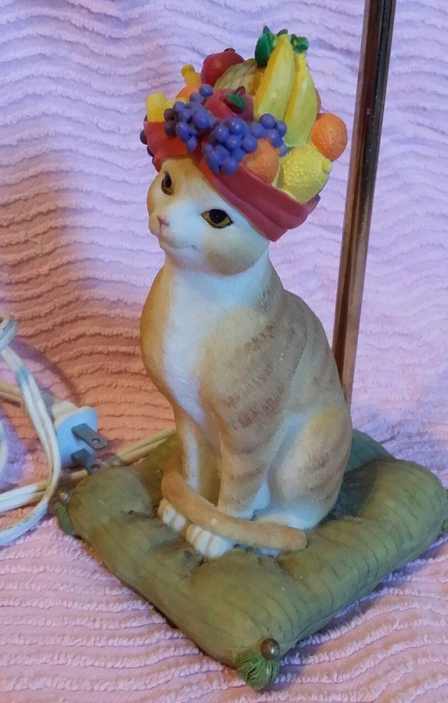 Vintage Resin Cat Lamp Novelty Light - Fruit Basket Kitten #Unbranded #Tropical