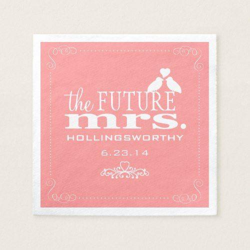 Future Mrs. Coral Bridal Shower Paper Napkin