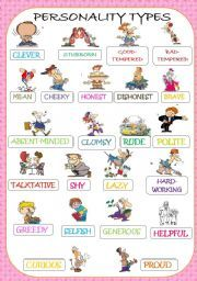 Resultado de imagen para adjectives of personality flashcards
