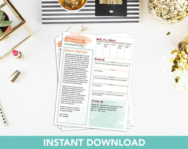 Teacher Newsletter Templates Hakkında Pinterest'Teki En Iyi 20+ Fikir