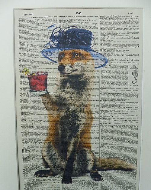 Fox with Cocktail Dictionary Wall Art Print by DecorisDesigns