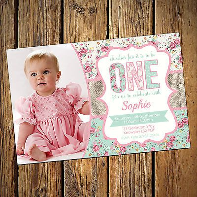 Girls 1st first #birthday invitations personalised #party #invite shabby chic, View more on the LINK: http://www.zeppy.io/product/gb/2/321850990925/